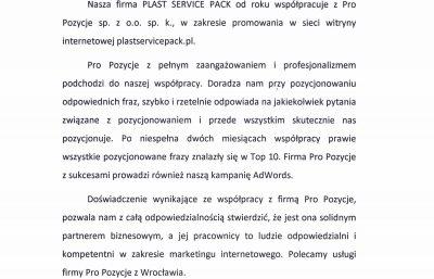 Plast Service Pack rekomendacja