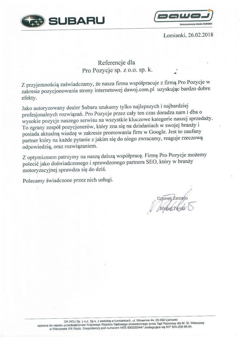 Referencje dotyczące usługi pozycjonowania w Pro Pozycje