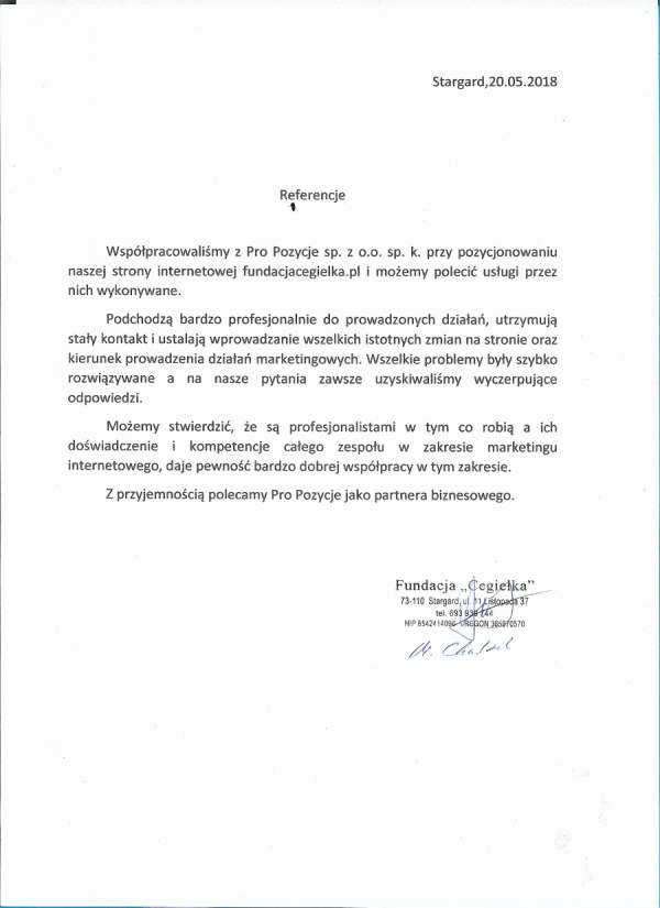 Fundacja Cegiełka rekomendacje