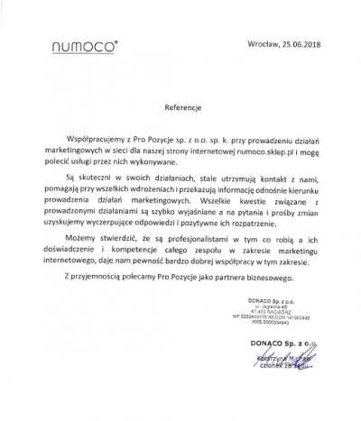 Referencja dotyczące usługi pozycjonowania stron w Pro Pozycje