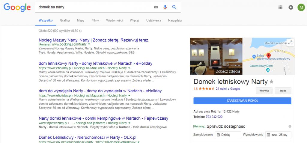Wyniki AdWords w wyszukiwaniu organicznym