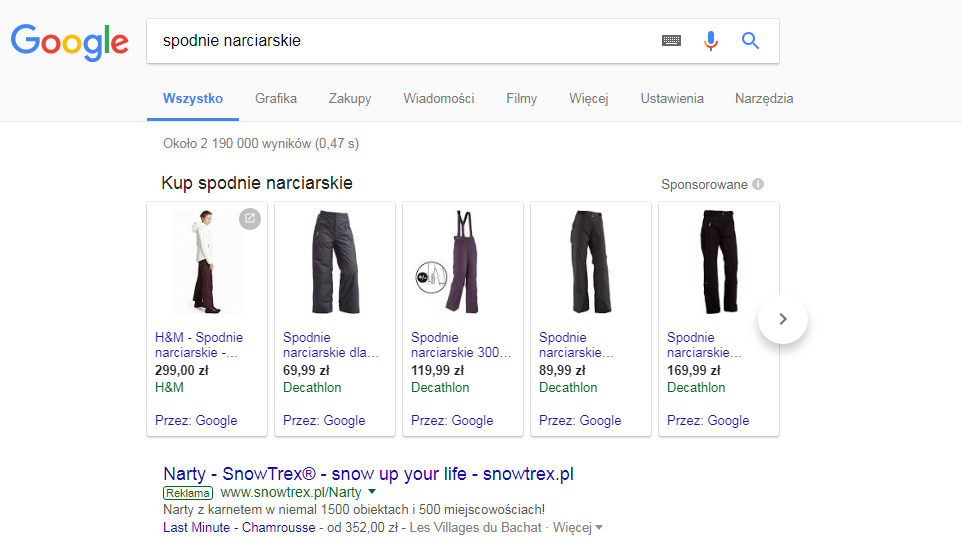 Przykład kampanii reklamowej Google Shoping
