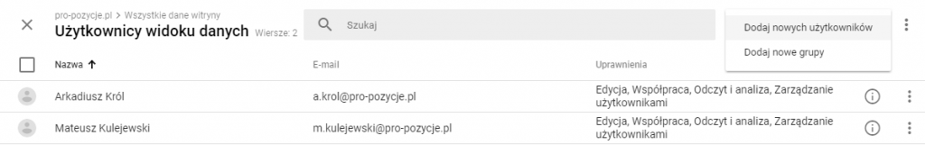 Zarządzanie dostępem do Google Analytics