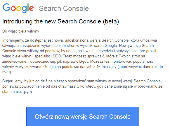 Nowy widok Search Console